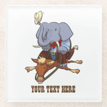 Cowboy Elephant Looking Sheepish On Horse Cartoon Glass Coaster