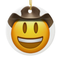 Cowboy emoji face ceramic ornament