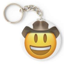 Cowboy emoji face keychain