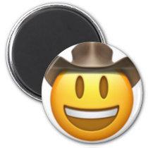 Cowboy emoji face magnet