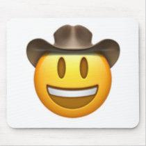 Cowboy emoji face mouse pad