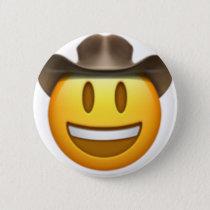Cowboy emoji face pinback button
