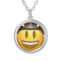 Cowboy emoji face silver plated necklace