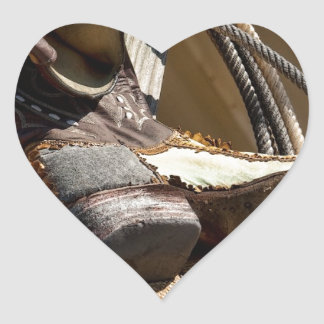 Cowboy Essentials - Boots and Ropes Heart Sticker