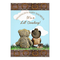 Cowboy Ethnic Baby and Teddy Bear Baby Shower Invitation