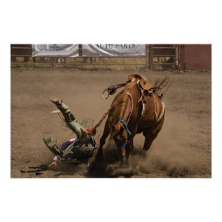 Cowboy falls from bucking bronc posters