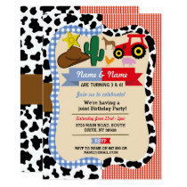 Cowboy & Farm Joint Boy Girl Birthday Animal Horse Invitation