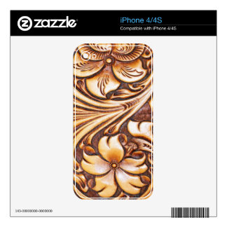 Cowboy Fashion Western Country Tooled Leather iPhone 4 Decal