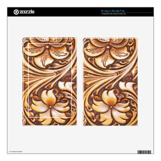 Cowboy Fashion Western Country Tooled Leather Kindle Fire Decals