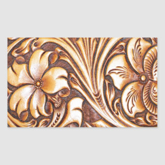 Cowboy Fashion Western Country Tooled Leather Rectangular Sticker