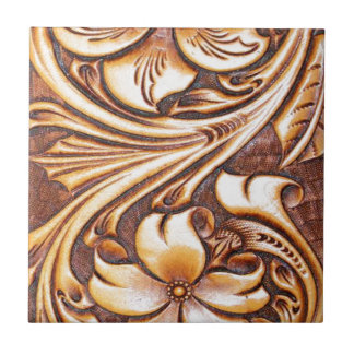 Cowboy Fashion Western Country Tooled Leather Tile