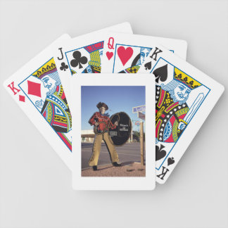 Cowboy figure sign welcoming tourists to Scottsdal Bicycle Playing Cards