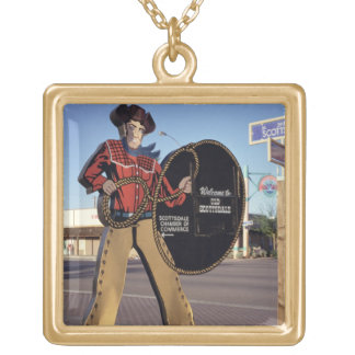 Cowboy figure sign welcoming tourists to Scottsdal Gold Plated Necklace