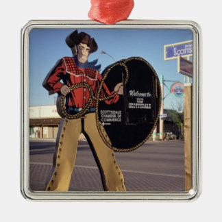 Cowboy figure sign welcoming tourists to Scottsdal Metal Ornament