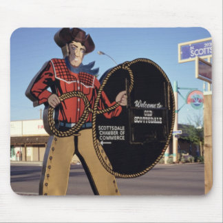 Cowboy figure sign welcoming tourists to Scottsdal Mouse Pad
