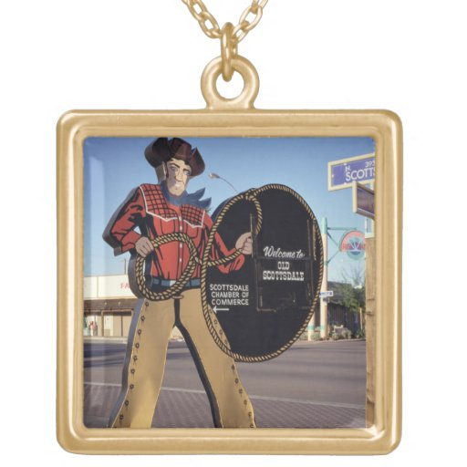 Cowboy figure sign welcoming tourists to Scottsdal Personalized Necklace