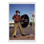 Cowboy figure sign welcoming tourists to Scottsdal Posters