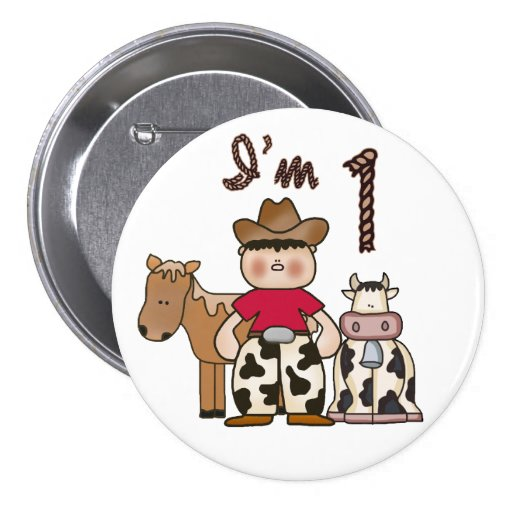 Cowboy  First Birthday Buttons