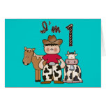Cowboy First Birthday Invitation Greeting Cards