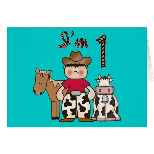 Cowboy First Birthday Invitation Greeting Cards
