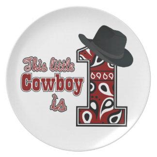 Cowboy First Birthday Melamine Plate