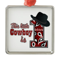 Cowboy First Birthday Metal Ornament