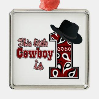 Cowboy First Birthday Metal Ornament
