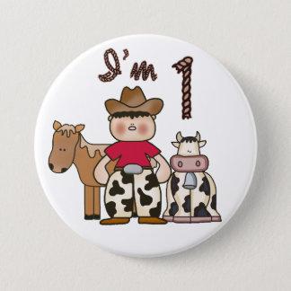 Cowboy  First Birthday Pinback Button