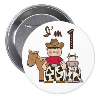 Cowboy  First Birthday Pinback Button