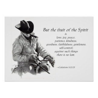 COWBOY: FRUIT OF THE SPIRIT: PENCIL ART POSTER