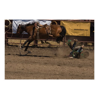Cowboy Gets a Kick out of Bronc Riding Poster