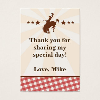 Cowboy Gift Favor Label Tag Red Rodeo