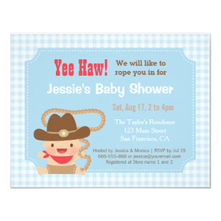 cowboy gingham western baby shower invitations