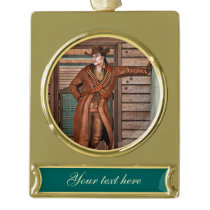 Cowboy Gold Plated Banner Ornament