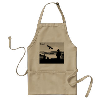 Cowboy Graphic Pen Eagle And Rising Sun Wild West Adult Apron