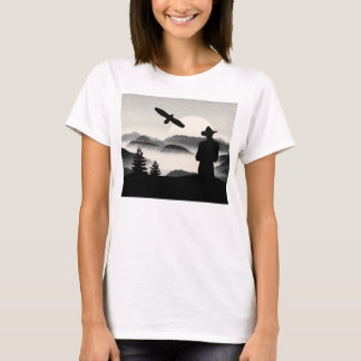 Cowboy Graphic Pen Eagle And Rising Sun Wild West T-Shirt