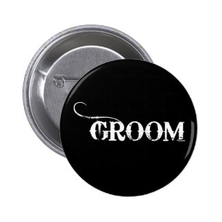 Cowboy Groom White on Black Button