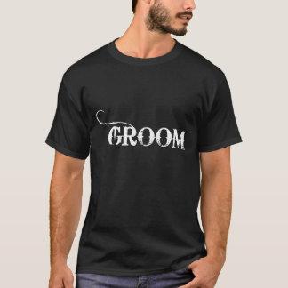 Cowboy Groom White on Black T-Shirt