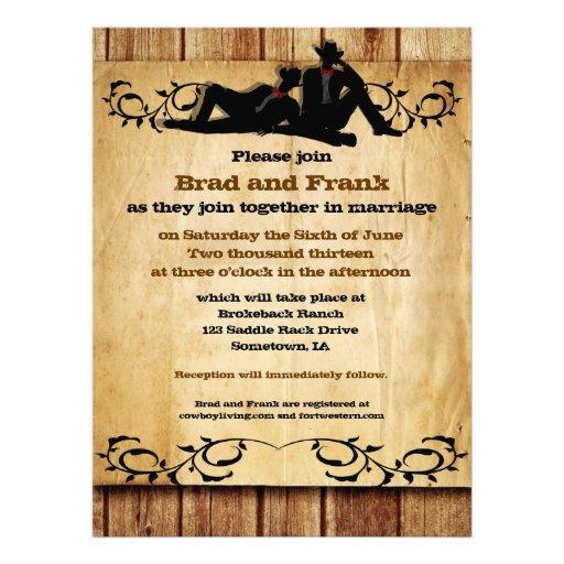 Cowboy Grooms Custom Gay Wedding Invitations
