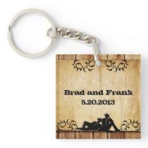 Cowboy Grooms Custom Gay Wedding Key Chain Favors