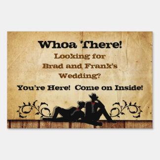 Cowboy Grooms Custom Gay Wedding Lawn Sign