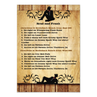 """Cowboy Grooms Gay Wedding Driving Directions Cards 4.5"""" X 6.25"""" Invitation Card"""