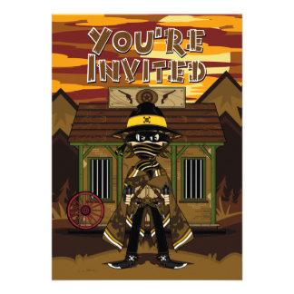 Cowboy Gunslinger at Jail Party Invite