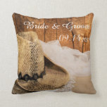 Cowboy Hat and Barn Wood Country Wedding Pillow