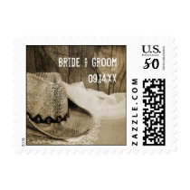 Cowboy Hat and Barn Wood Country Wedding Postage