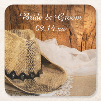 Cowboy Hat and Barn Wood Country Wedding Square Paper Coaster