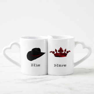 Cowboy Hat and Crown Lovers Mug Set
