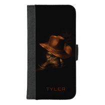 Cowboy Hat and Leather Boots Masculine Personalize iPhone 8/7 Plus Wallet Case