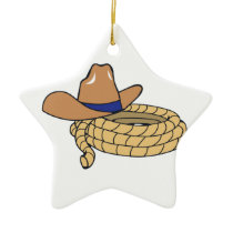 Cowboy Hat And Rope Ceramic Ornament