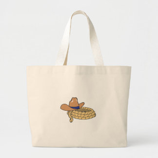 Cowboy Hat And Rope Large Tote Bag
